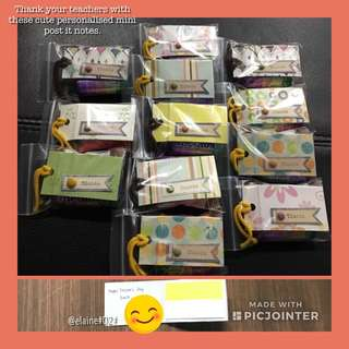 Personalised mini post it notes