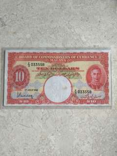 1941 MALAYA KING GEORGE VI $10 F/3 033558 VF