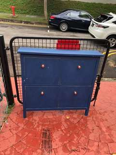 FREE shoe cabinet.  Chalk Painted blue rose gold handles