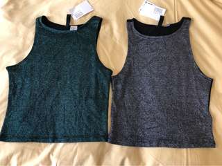 Brand New H&M glitter shirt silver and green XS
