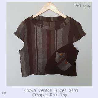 Brown Veritcal Stiped Semi Cropped Knit Top