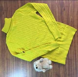 Yellow Turtleneck Knit Jumper
