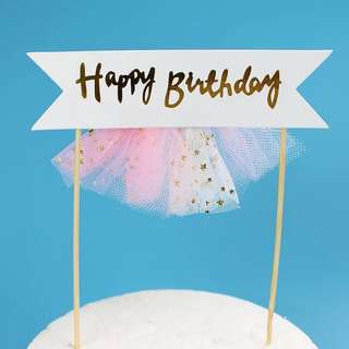 BN: happy birthday cake topper with skirting