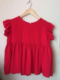 Plain Red Blouse