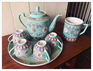 Rare Complete Turquoise Wan Shou Tea Set