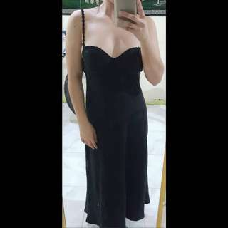 Long black padded dress