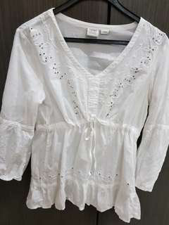 free postage: esprit front tie embroidered blouse