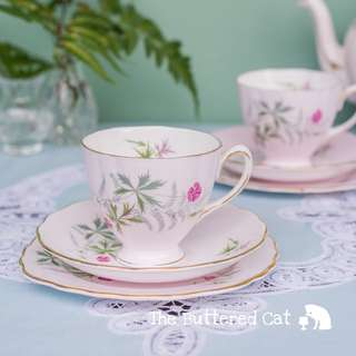 Pretty pink vintage English bone china tea trio, green ferns and little pink flowers