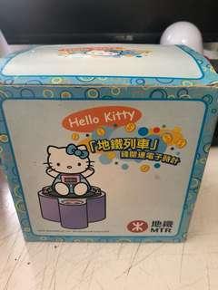 懷舊Hello kitty 地鐵列車錢罌連電子時計