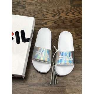 FILA Slip ons slipper holographic