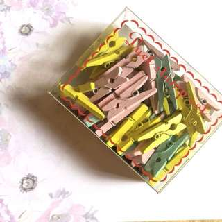 Cute pastel wooden pegs
