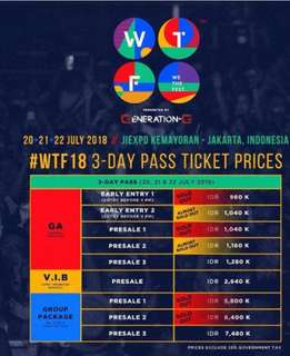 2 tiket WTF 3 days - pass early enrty 1