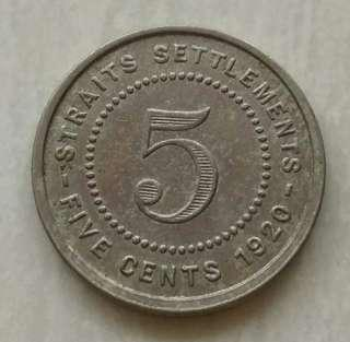 Straits Settlements 1920 5 Cents Coin With Good Details