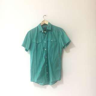 🚚 H&M Green Button Short Sleeve Shirt