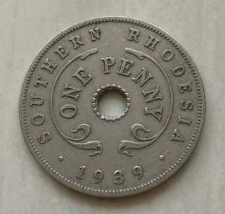 Southern Rhodesia 1939 Penny Coin With Good Details
