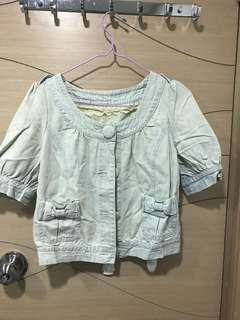 Franche lippee style M deux 蝴蝶結洗水牛仔外套
