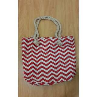 【二手專區】紅白條紋普普藝術麻繩 購物袋 紅白大對抗 普普藝術