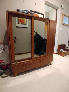 Vintage shoe cabinet with mirror from Myanmar