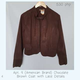 Apt. 9 (American Brand) Chocolate Brown Coat with Lace Details