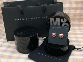 Marc By Marc Jacobs Rose Gold Heart Stud Earrings