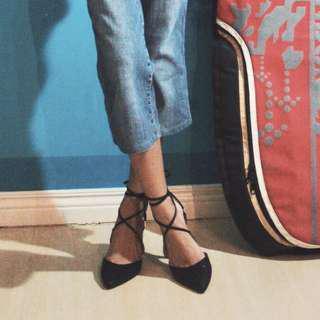 Black Strapped Heels w/o box