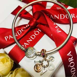 Authentic Pandora Charm Rose Gold I Love You Red CZ Dangle Charm Pendant Italy Sterling Silver 92.5 (CHARMS ONLY)