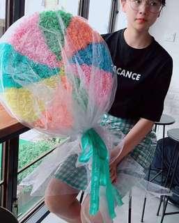 Rainbow  lollipop rose bouquet