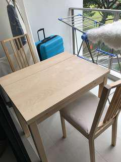 Ikea extendable table with 2 dining chairs