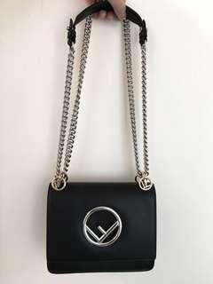 Fendi Kan I black leather handbag shoulder bag 黑色 皮 手袋