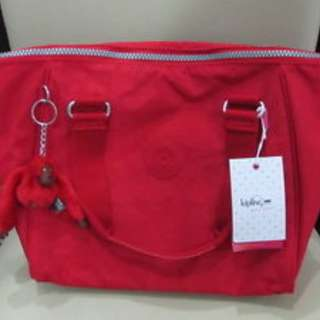 KIPLING SYRO VIBRANT RED TOTE BAG WITH SLING AUTHENTIC BRAND NEW