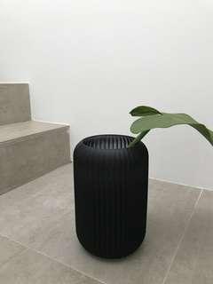 *CLEARANCE* Black Groove Texture Vase / Jar