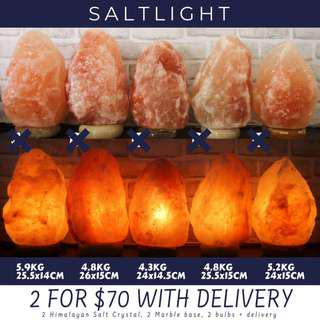 🚚 Authentic Himalayan Salt Lamps | with marble base and high quality, long lasting bulb | Exclusive Promo Bundle Price 2@$70 with FREE delivery | Chromotherapy soothes and relax | Natural Anti bacterial properties cleanse and purify | Organic nightlight