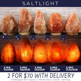 🚚 Authentic Himalayan Salt Crystal Lamp | MOST VALUE FOR MONEY BUNDLE PROMO IN THE SG MARKET: 2 SETS FOR ONLY $70 WITH FREE DELIVERY | CLEANSE & PURIFY | NATURALLY IMPROVE AIR QUALITY | REDUCE ELECTRIC SMOG | NEGATIVE IONS