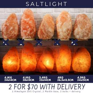 🚚 Authentic Pink Himalayan Salt Lamps | 2@$70 + delivery with marble base and high quality, long lasting bulb | Natural Air Purifier | Emit Negative Ions | Geological Treasures | Soothe and Relax | Raw Luxury