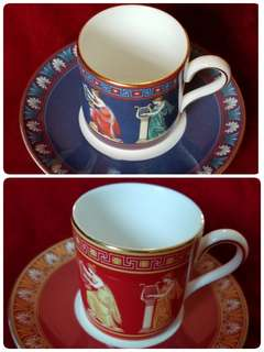 """A Pair of Wedgwood Porcelain Coffee Cups & Saucers """"Musical  Muses"""""""