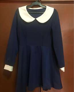 Collared Dress (Navy Blue)