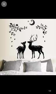 Moon black deer silhouette home porch bathroom decoration wall sticker