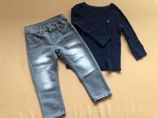 Baby Gap long sleeved shirt and Zap gray denim