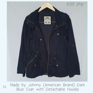 Made by Johnny (American Brand) Dark Blue Coat with Detachable Hoodie