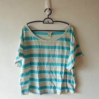 Forever 21 Blue and Grey Striped Top