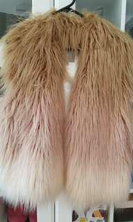 Guess Draped Faux Fur Vest Size S