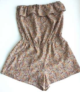 Floral Strapless Ruffle Romper