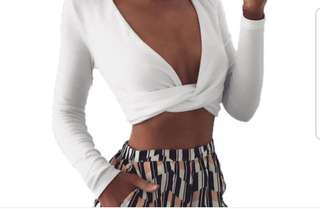 Sabo skirt white long sleeve knot top