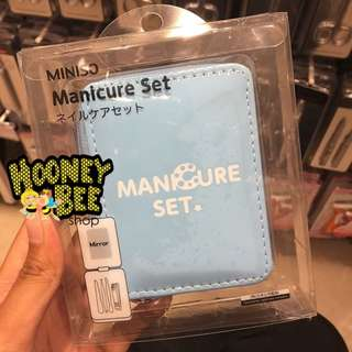 Japan Quality Miniso - Square Mirror Manicure 5pc Set