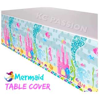 🧜‍♀️ MERMAID TABLE PLASTIC COVER for Birthday • Event • Baby Shower •