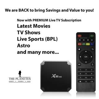 2GB + 16GB Android TV Box with PREMIUM Moon IPTV Subscription (1 Year)