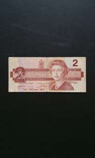 1986 Canada $2 Currency Banknote