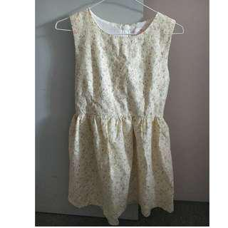 Floral lace cream dress