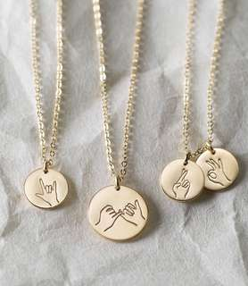 CUSTOM HAND GESTURE NECKLACE | 14K GOLD ROSE GOLD SILVER | FREE SHIPPING SM SS