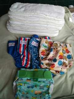Diaper cloth set, 5 shell & 16 microfiber inserts